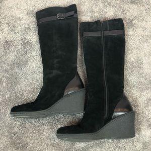 Aquatalia Black Wedge Suede Fur Lined Boot Sz 40/9